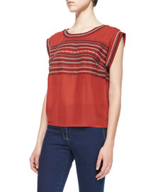 Clover Embroidered Silk Tee