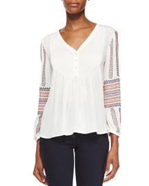 Spruce Boho Embroidered Blouse