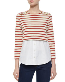 Anchor Combo Striped Jersey and Cotton Poplin Top