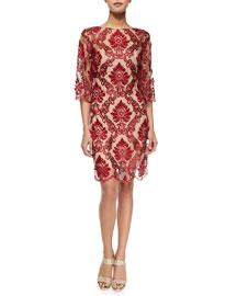 3/4-Sleeve Lace Cocktail Sheath Dress
