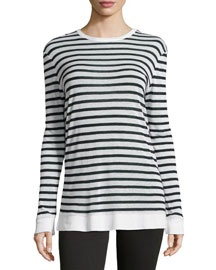 Long-Sleeve Striped Linen Tee, Navy/White