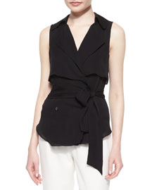 Draped Flap Snap Sleeveless Trench Blouse, Black