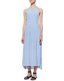 Halter-Neck Plisse-Skirt Dress, Cirrus Blue