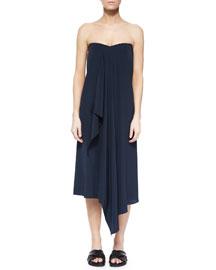 Strapless Drape-Front Dress, Navy/Black