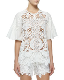 Emmanuel Crochet Bell-Sleeve Top, White