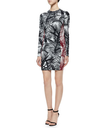 Long-Sleeve Line-Print Sheath Dress