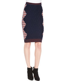 Cable-Knit Intarsia Pencil Skirt, Navy