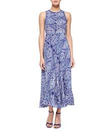 Paisley-Combo Sleeveless Dress, Indigo