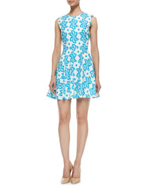 Jeannie Giant-Leaf-Print Dress, Blue