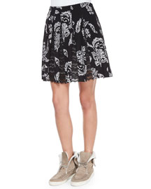 Lace-Inset Pleated Skirt