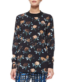 Rose-Print Long-Sleeve Top