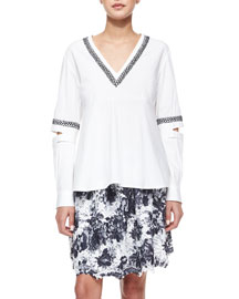 Long-Open-Sleeve Embroidered Top