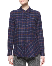 Plaid Flannel Open-Back Shirt, Navy