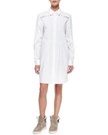 Lace-Detail Shirtdress