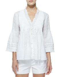 Layla Linen Ruffle-Trim Top, White