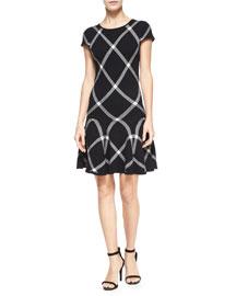 Diagonal Plaid Drop-Waist Dress, Black Pattern