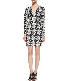 Reina Giant Leaf Printed Dress, Black
