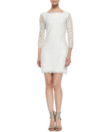 Zarita 3/4-Sleeve Lace Dress, White
