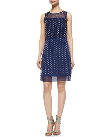 Abriela Embellished Dress, Navy