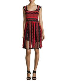 Sleeveless Sheer Greek-Key Dress, Red