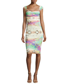 Laila Snake-Print Shirred-Bodice Sheath Dress