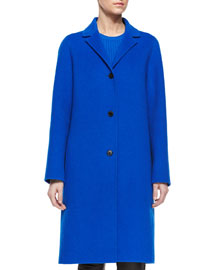 Classic Wool Long Coat, Cerulean