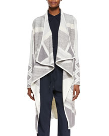 Textured Graphic Wool Cardigan