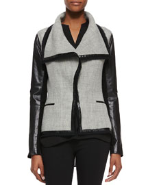 Leather-Sleeve Wool-Blend Boucle Jacket