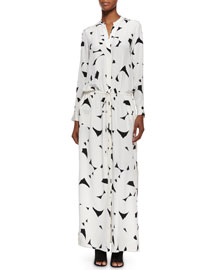 Long-Sleeve Printed Maxi Dress