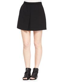 Front-Pleat A-Line Skirt, Black