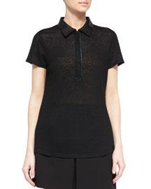 Leather-Trim Polo Shirt, Black