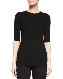 Slim-Fit Ribbed Crewneck Sweater