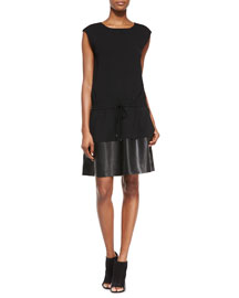 Waist-Tie Leather/Knit Combo Dress, Black