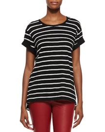 Feeder-Stripe Short-Sleeve Top