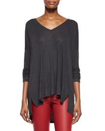 Luxe V-Neck Draped Knit Tee