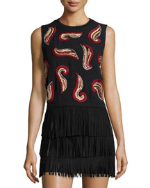 Kara Paisley-Embroidered Crop Top, Black/Red/Gold