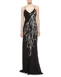 Spaghetti Straps Embroidered Gown