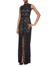 Gisela High-Neck Lace Contrast Gown