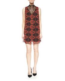 Lotus Flower Printed Sleeveless Dress