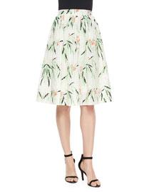 Avenue Floral A-Line Skirt, White/Multicolor