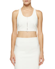 Harlow Cropped Zip-Front Top, White