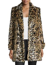 Montana Leopard-Print Faux-Fur Coat