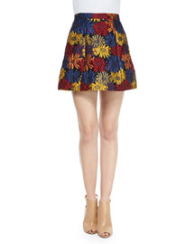 Loran Floral A-Line Skirt, Blue/Multicolor