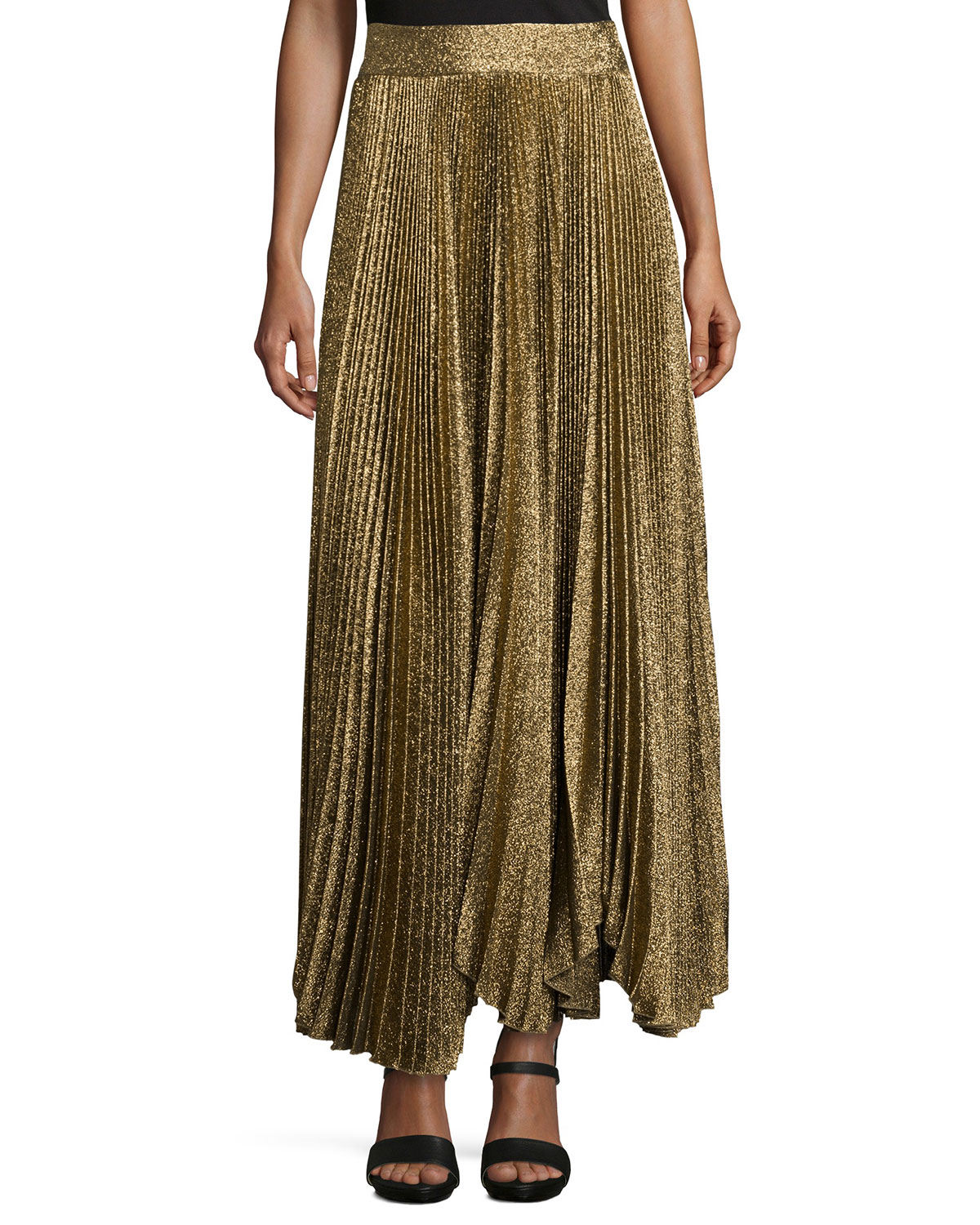 Alice + Olivia Katz Shimmery Pleated Maxi Skirt, Size: 4, Rose Gold