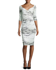 Lexis Snake-Print 3/4-Sleeve Sheath Dress