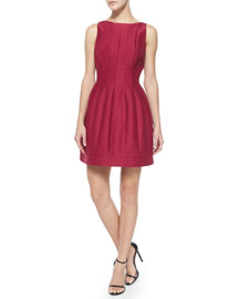Seamed Structured Cocktail Dress, Garnet