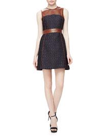 Calvino W. Heighten Mixed-Media Dress