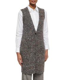 Minareeya Paella Sharkskin Sleeveless Vest, Gray Mix