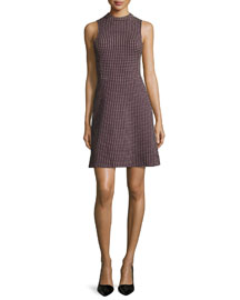 Seraon Palmetto-Knit Sleeveless Dress, Navy/Red