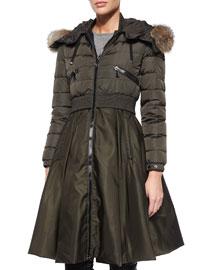 Sully Full-Skirted Fur-Trim Puffer Coat, Olive